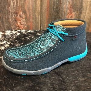 EXCLUSIVE TWISTED X TEAL CHUKKA DRIVING MOC SHOES